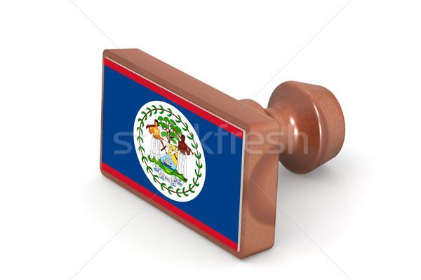 Fából készült bélyeg Belize zászló kép renderelt Stock fotó © tang90246