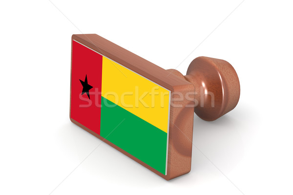 Wooden stamp with Guinea Bissau flag Stock photo © tang90246