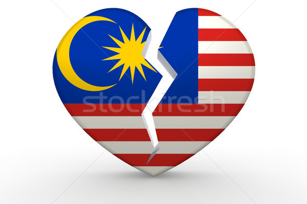 Broken white heart shape with Malaysia flag Stock photo © tang90246