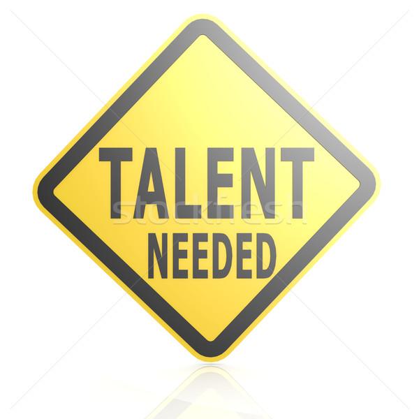 Talent verkeersbord afbeelding gerenderd gebruikt Stockfoto © tang90246