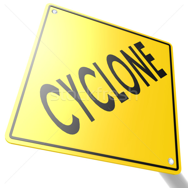 Road sign with cyclone Stock photo © tang90246