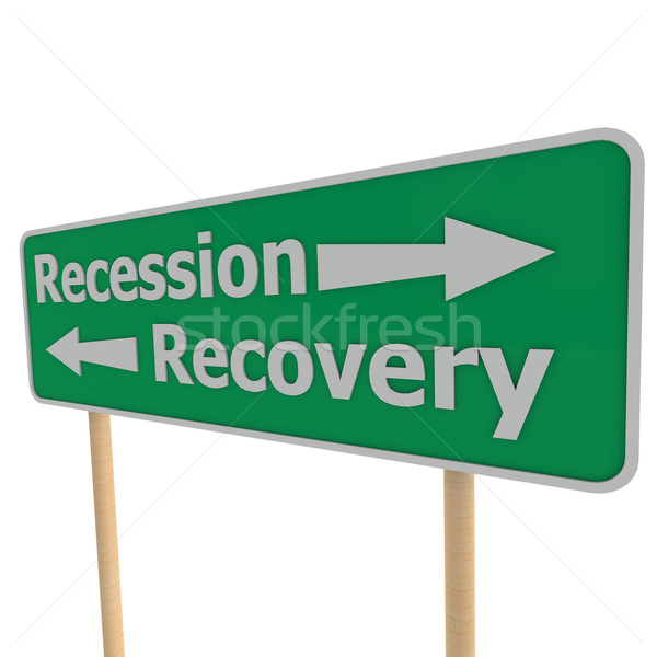 Recession recovery road sign Stock photo © tang90246