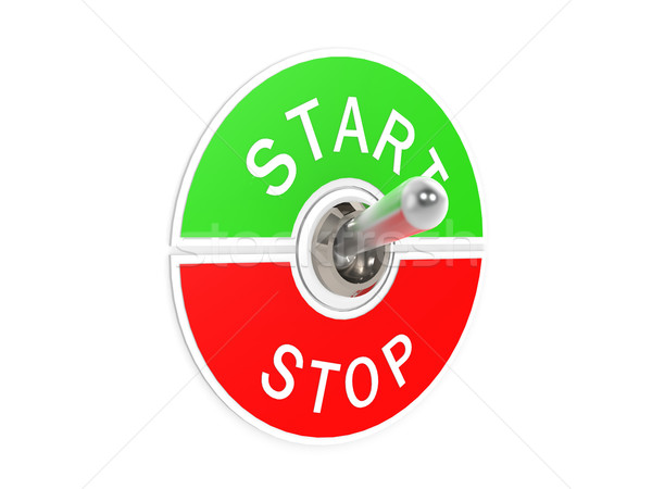 Inizio stop switch tecnologia metal verde Foto d'archivio © tang90246