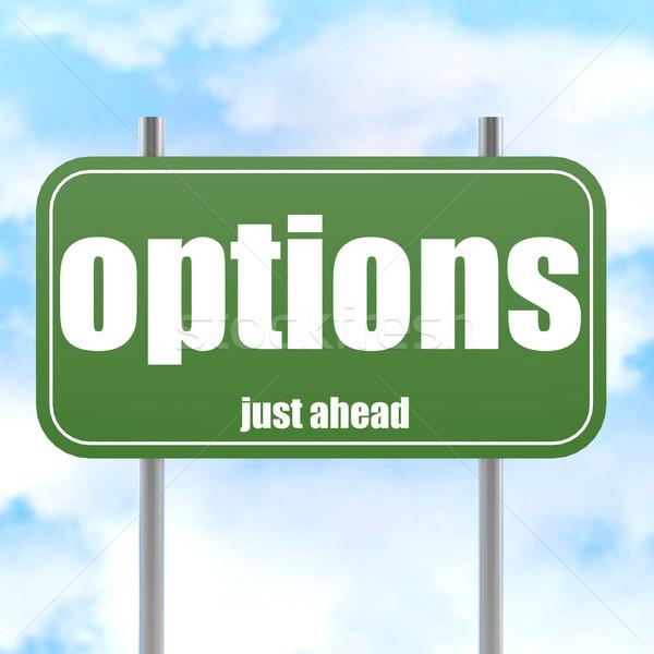 Opções à frente verde placa sinalizadora imagem prestados Foto stock © tang90246