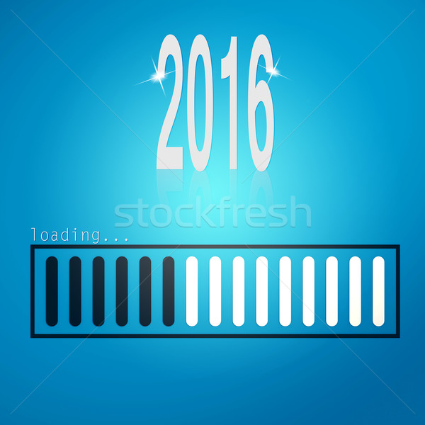 Stock photo: Blue loading bar year 2016