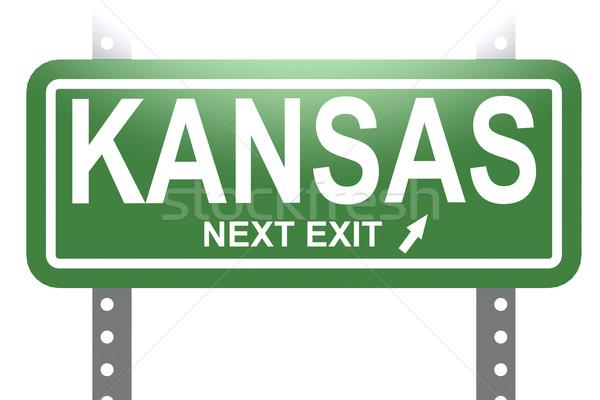Stock photo: Kansas green sign board isolated