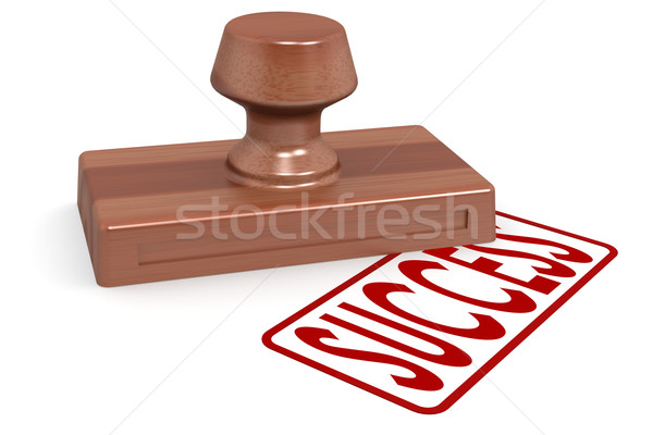 Wooden stamp success with red text Stock photo © tang90246