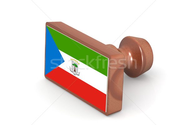 Wooden stamp with Equatorial Guinea flag Stock photo © tang90246