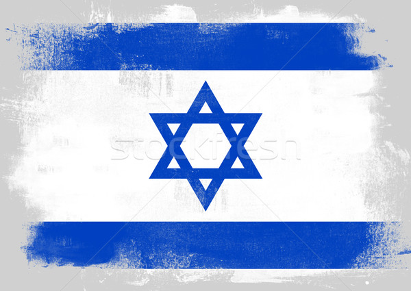 Flag of Israel painted with brush Stock photo © tang90246