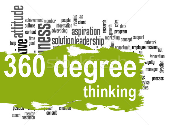 360 Degree Thinking word cloud with green banner Stock photo © tang90246