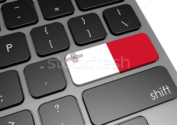 Malta toetsenbord afbeelding gerenderd gebruikt Stockfoto © tang90246