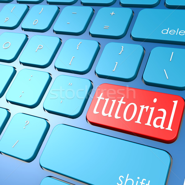 Tutorial billentyűzet internet laptop hálózat tanulás Stock fotó © tang90246