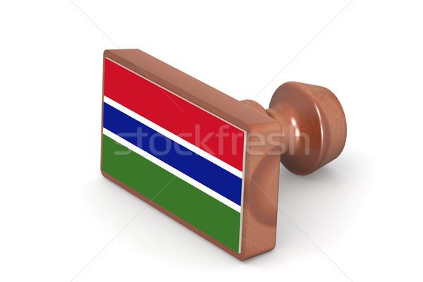 木製 スタンプ ガンビア フラグ 画像 レンダリング ストックフォト © tang90246