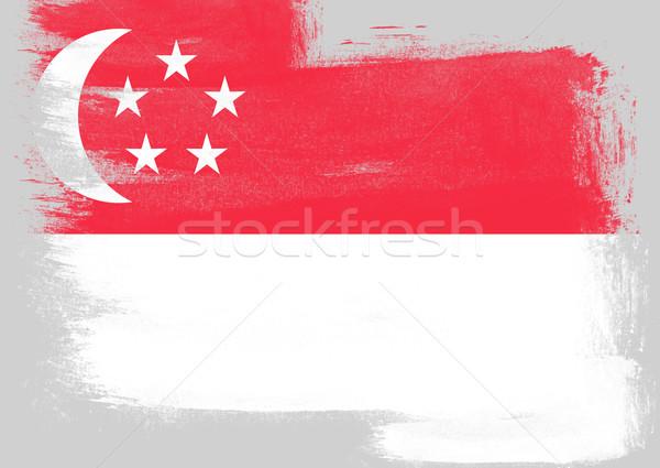 Vlag Singapore geschilderd borstel solide abstract Stockfoto © tang90246