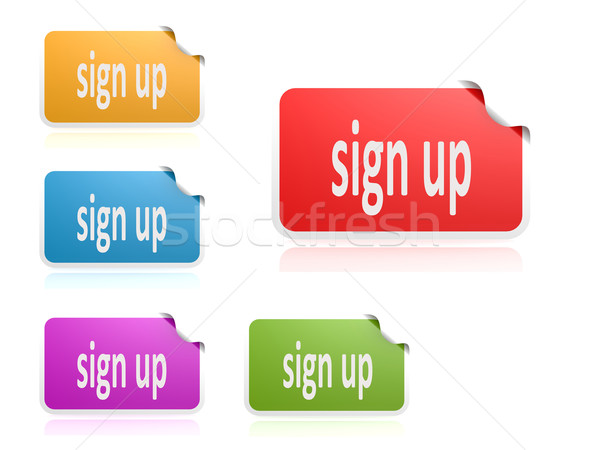 Stock photo: Label set sign up