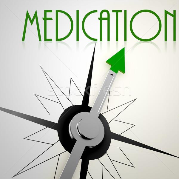 Médication vert boussole bien-être croissance Photo stock © tang90246