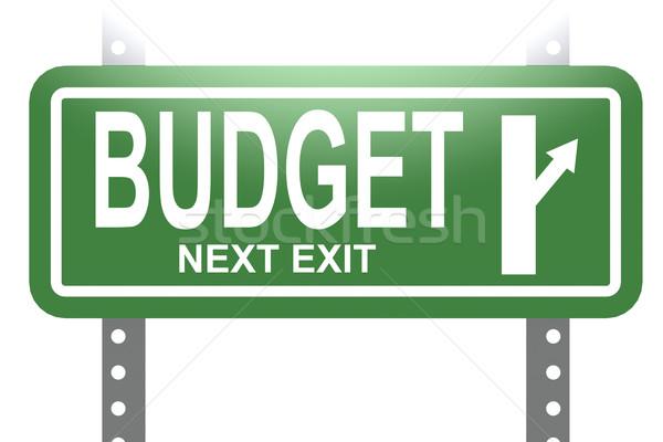 Orçamento verde assinar conselho isolado imagem Foto stock © tang90246