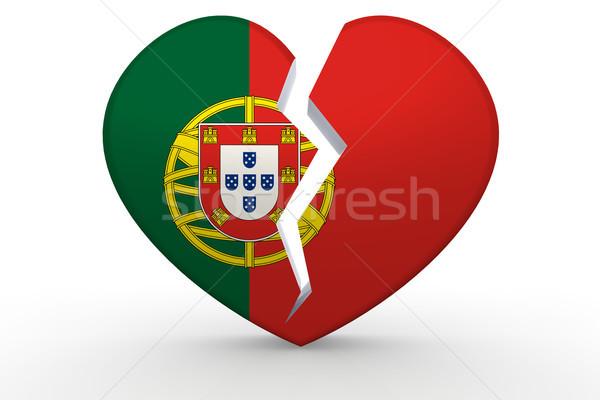Gebroken witte hartvorm vlag 3D Stockfoto © tang90246