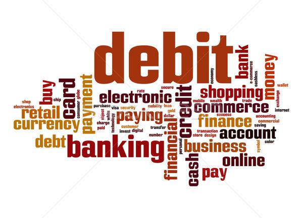 Debet woordwolk bank kaart elektronische kopen Stockfoto © tang90246