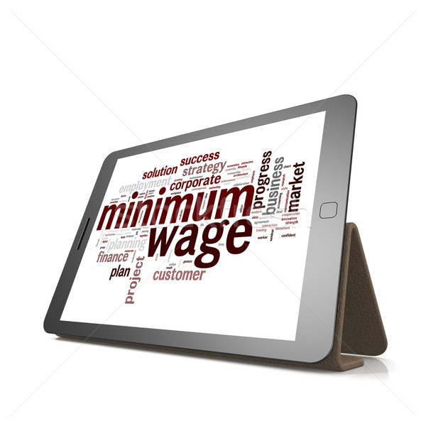 Minimum wage word cloud on tablet Stock photo © tang90246