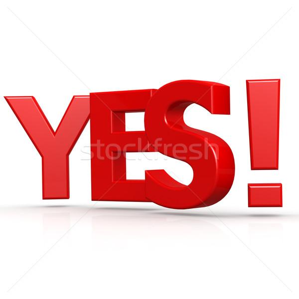 Ja woord Rood succes stemming tekst Stockfoto © tang90246