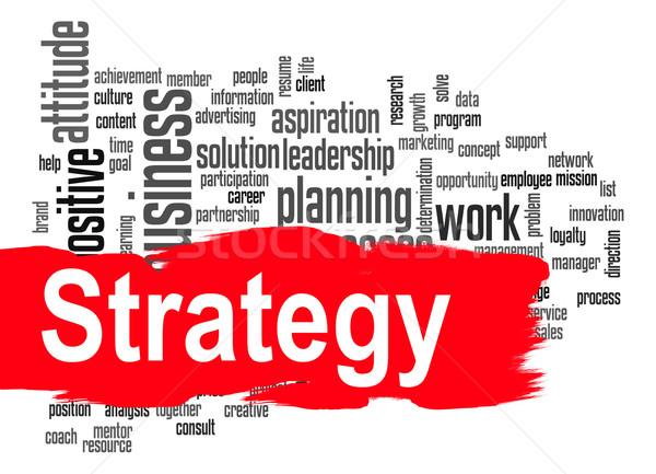 ストックフォト: 戦略 · 言葉の雲 · 赤 · バナー · 画像 · レンダリング