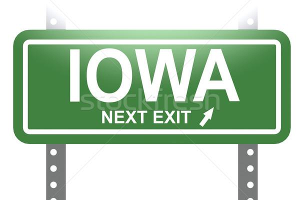 Iowa yeşil imzalamak tahta yalıtılmış görüntü Stok fotoğraf © tang90246