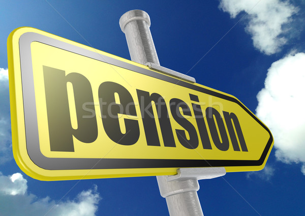 Yellow road sign with pension word under blue sky Stock photo © tang90246