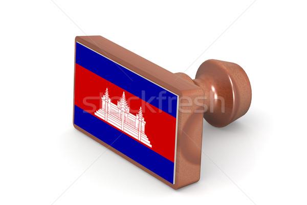 Fából készült bélyeg Kambodzsa zászló kép renderelt Stock fotó © tang90246