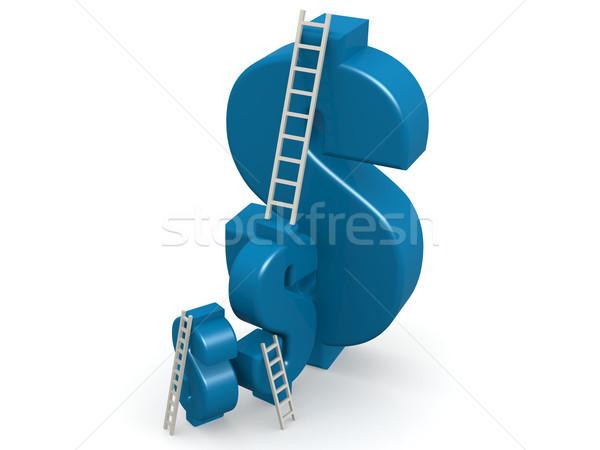 Azul cifrão escada 3D dinheiro Foto stock © tang90246
