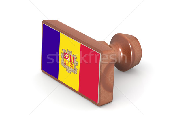 Blank wooden stamp with Andorra flag Stock photo © tang90246