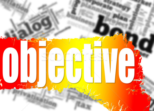 Word cloud with objective word on yellow and red banner Stock photo © tang90246