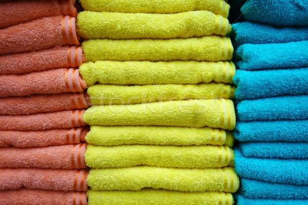 Stacks of multicolored towels Stock photo © tang90246