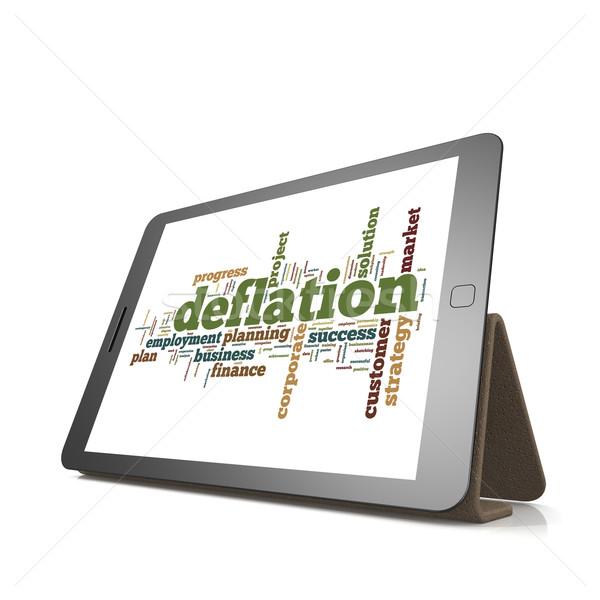 Deflation word cloud on tablet Stock photo © tang90246