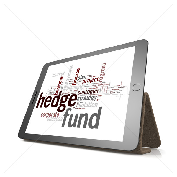 Hedge fund word cloud on tablet Stock photo © tang90246
