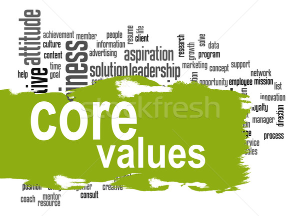 Core values word cloud with green banner Stock photo © tang90246