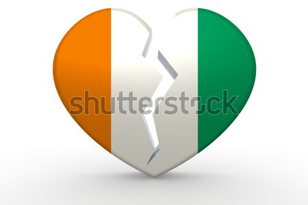 Берег Слоновой Кости сердце фон путешествия флаг стране Сток-фото © tang90246