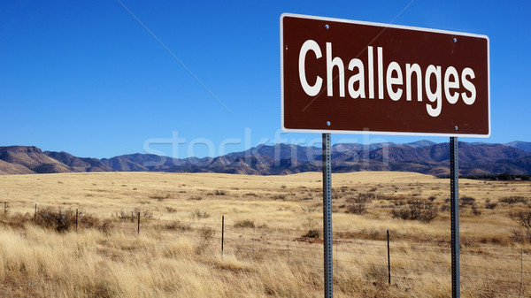 Challenges brown road sign Stock photo © tang90246