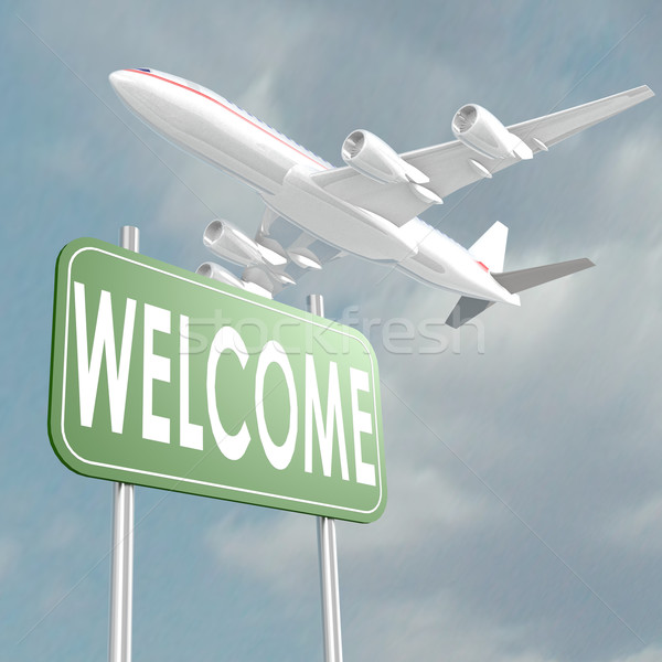 Welcome sign with airplane Stock photo © tang90246
