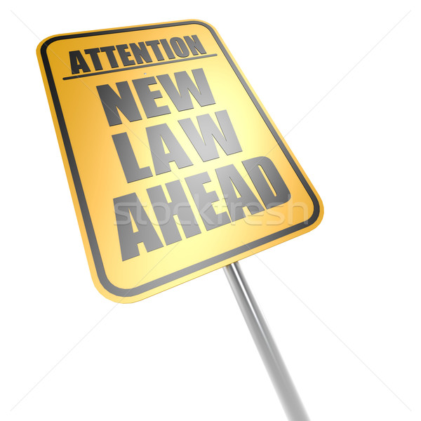 Stock photo: New law ahead road sign