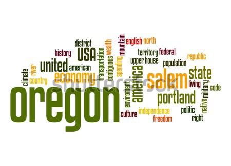 Oregon kelime bulutu bulut özgürlük tarih grafik Stok fotoğraf © tang90246