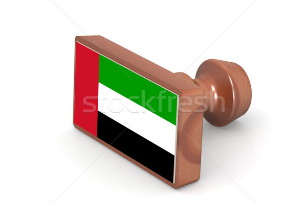 Wooden stamp with United Arab Emirates flag Stock photo © tang90246