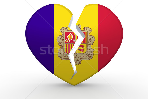 Broken white heart shape with Andorra flag Stock photo © tang90246