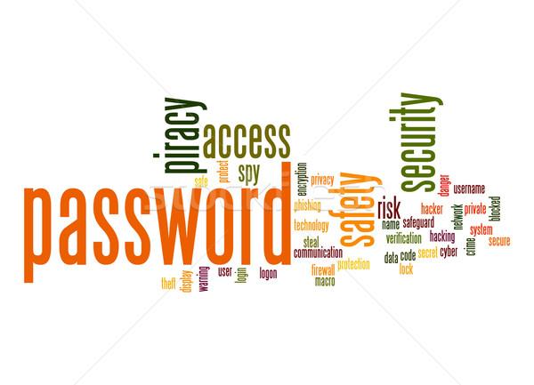 Kennwort Wort-Wolke Technologie Kommunikation Sperre Daten Stock foto © tang90246