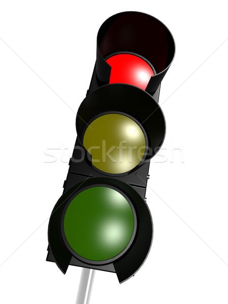 Jelzőlámpa piros út utca felirat lámpa Stock fotó © tang90246