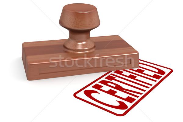 Wooden stamp certified with red text Stock photo © tang90246