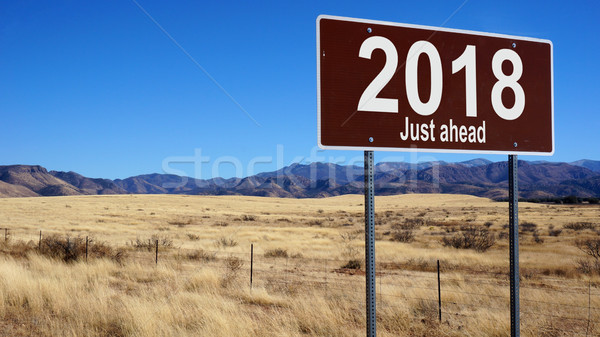 2018 Just Ahead brown road sign Stock photo © tang90246