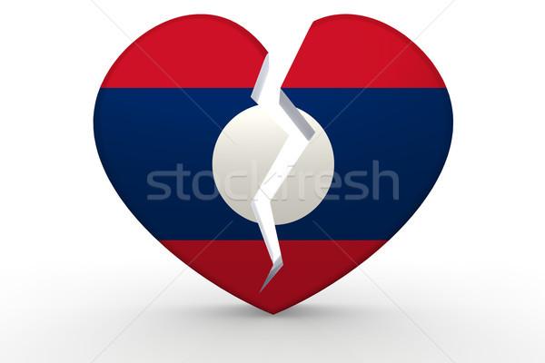 Podziale biały kształt serca banderą 3D Zdjęcia stock © tang90246