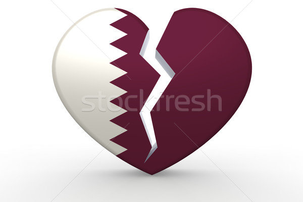 Broken white heart shape with Qatar flag Stock photo © tang90246
