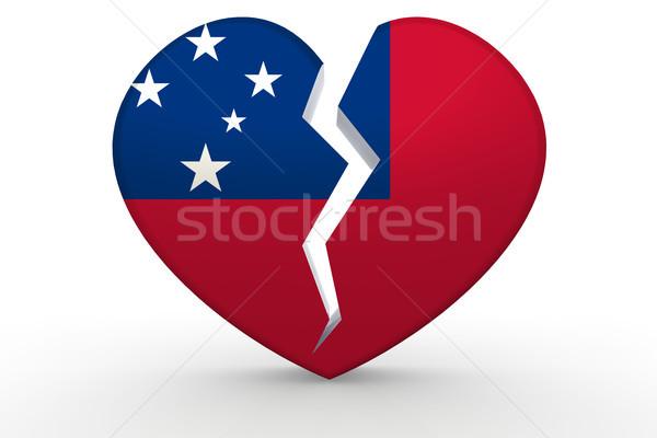 壊れた 白 心臓の形態 フラグ 3D レンダリング ストックフォト © tang90246